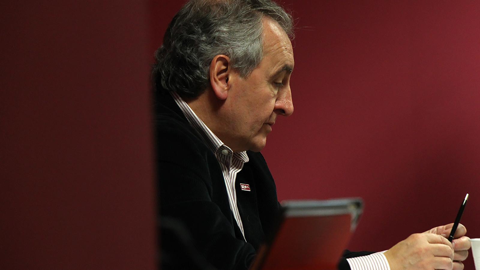 El president de Progressistes-SDP, Jaume Bartumeu, durant la celebració del consell nacional d'aquest dissabte. / M. M.
