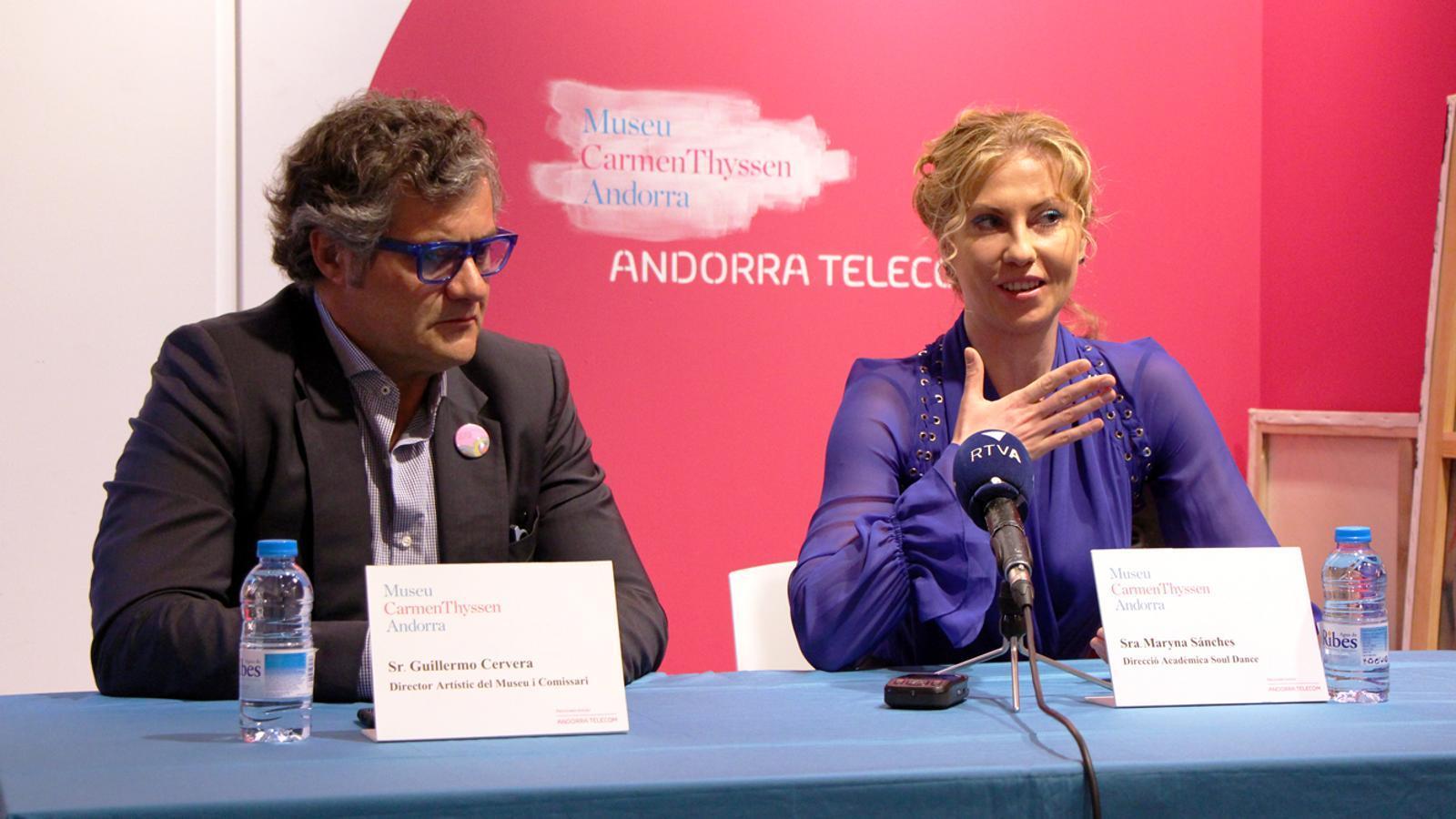El director artístic del museu, Guillermo Cervera, i la directora de l'acadèmia Soul Dance, Maryna Sánches, en la presentació del #DansArt. / T. N.