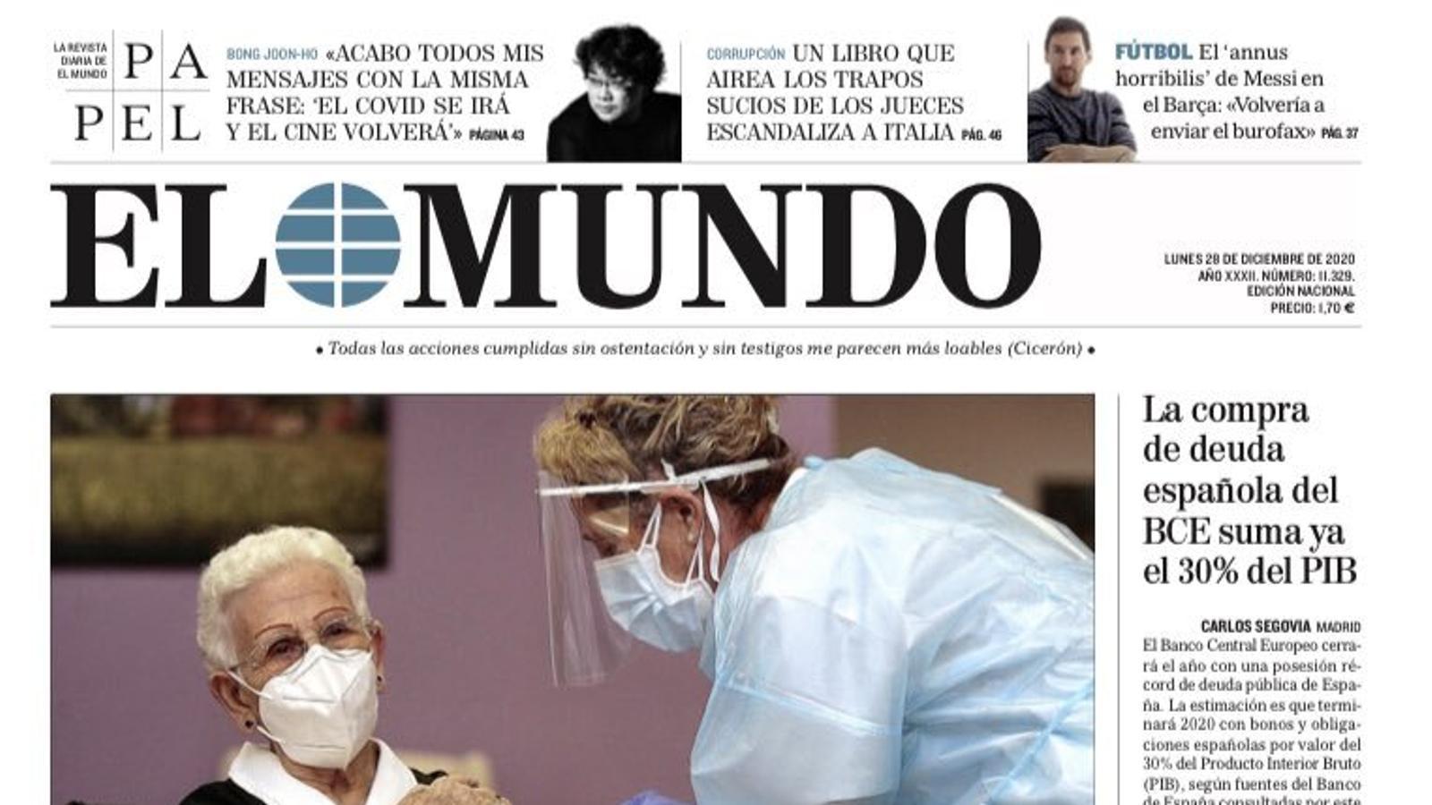 Portada d'El Mundo, 28 de desembre del 2020