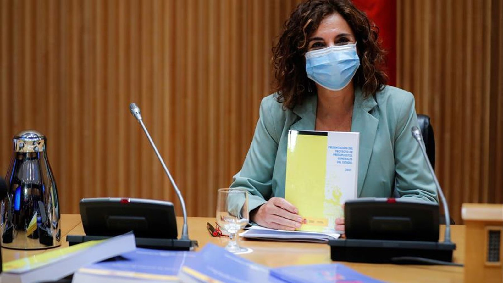 La ministra d'Hisenda, Maria Jesús Montero, durant la presentació dels pressupostos generals de l'Estat al Congrés dels Diputats