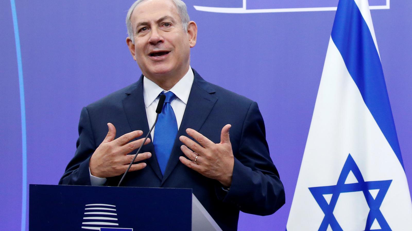 El primer ministre d'Israel, Benjamin Netanyahu, durant la roda de premsa que ha oferit a la seva arribada a Brussel·les