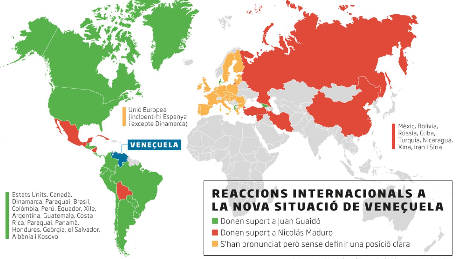 Quins països han donat suport a Guaidó i quins a Maduro?