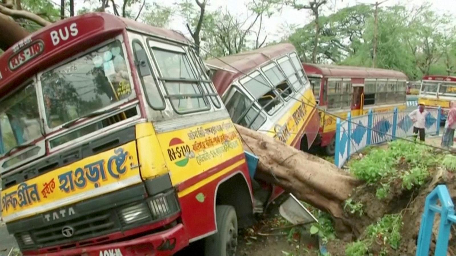 Un arbre caigut sobre un autobús a la ciutat de Calcuta, pel cicló Adham.