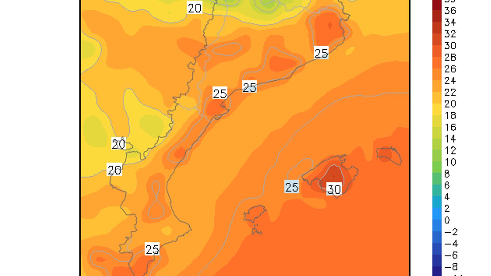 Un estiuet de tres dies implicarà marques  de més de 25 ºC a Catalunya i de 30 ºC a Mallorca