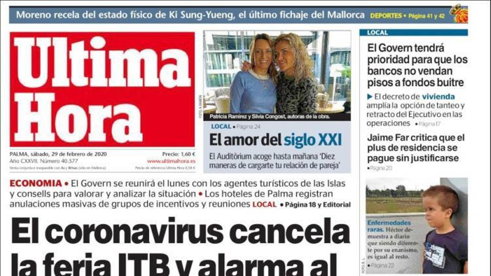 """""""El coronavirus cancel·la la fira ITB i alarma al sector turístic balear"""", portada d''Última Hora'"""