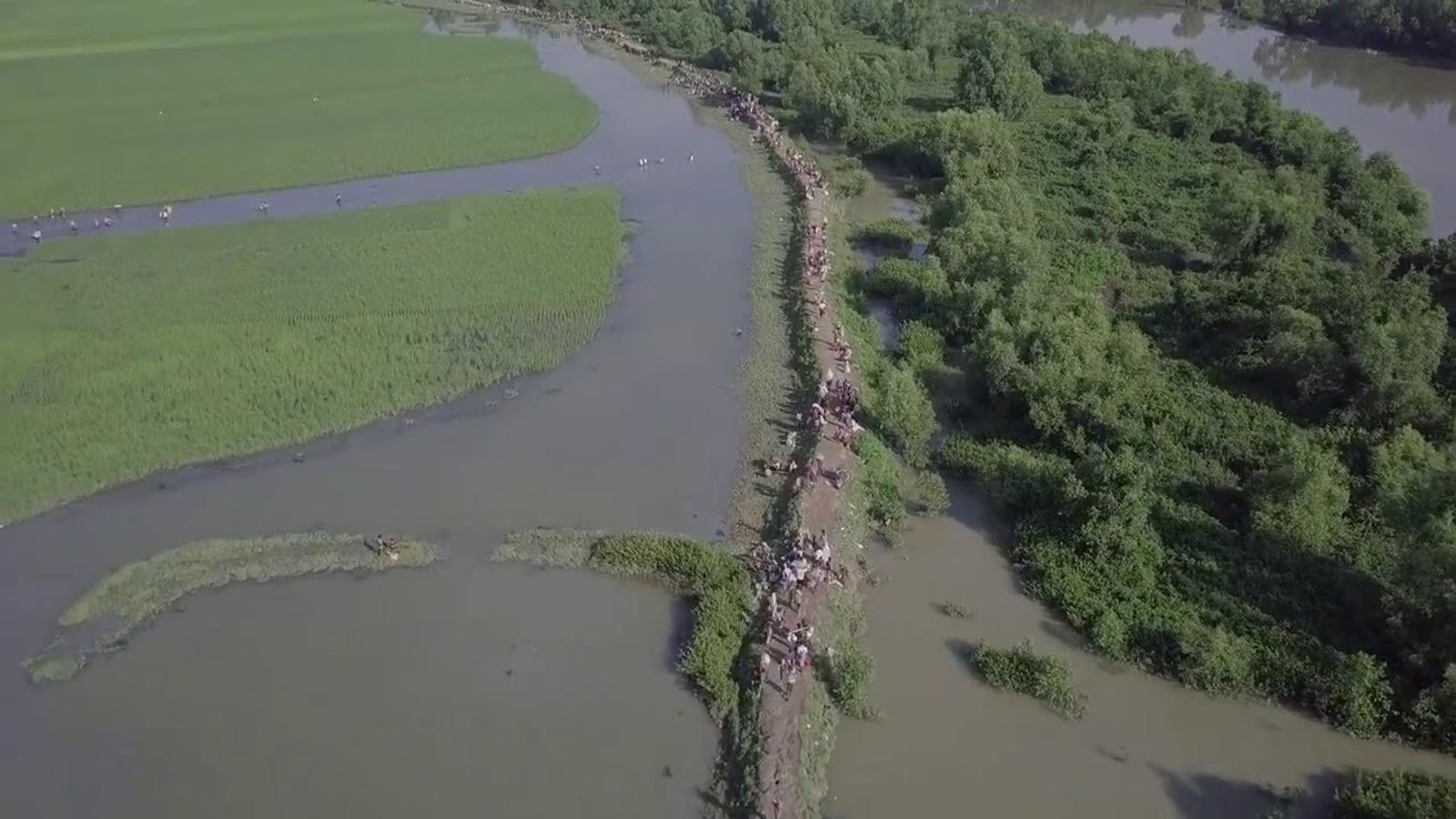 Vista des d'un dron de l'èxode rohingya.
