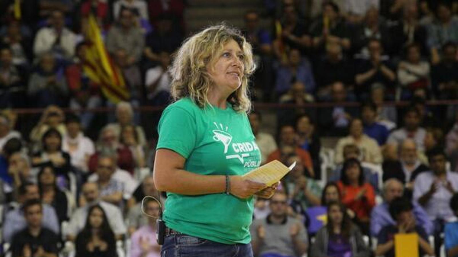 La nova presidenta de l'ASM, Margalida Miquel, durant un míting d'ERC en les passades eleccions europees.
