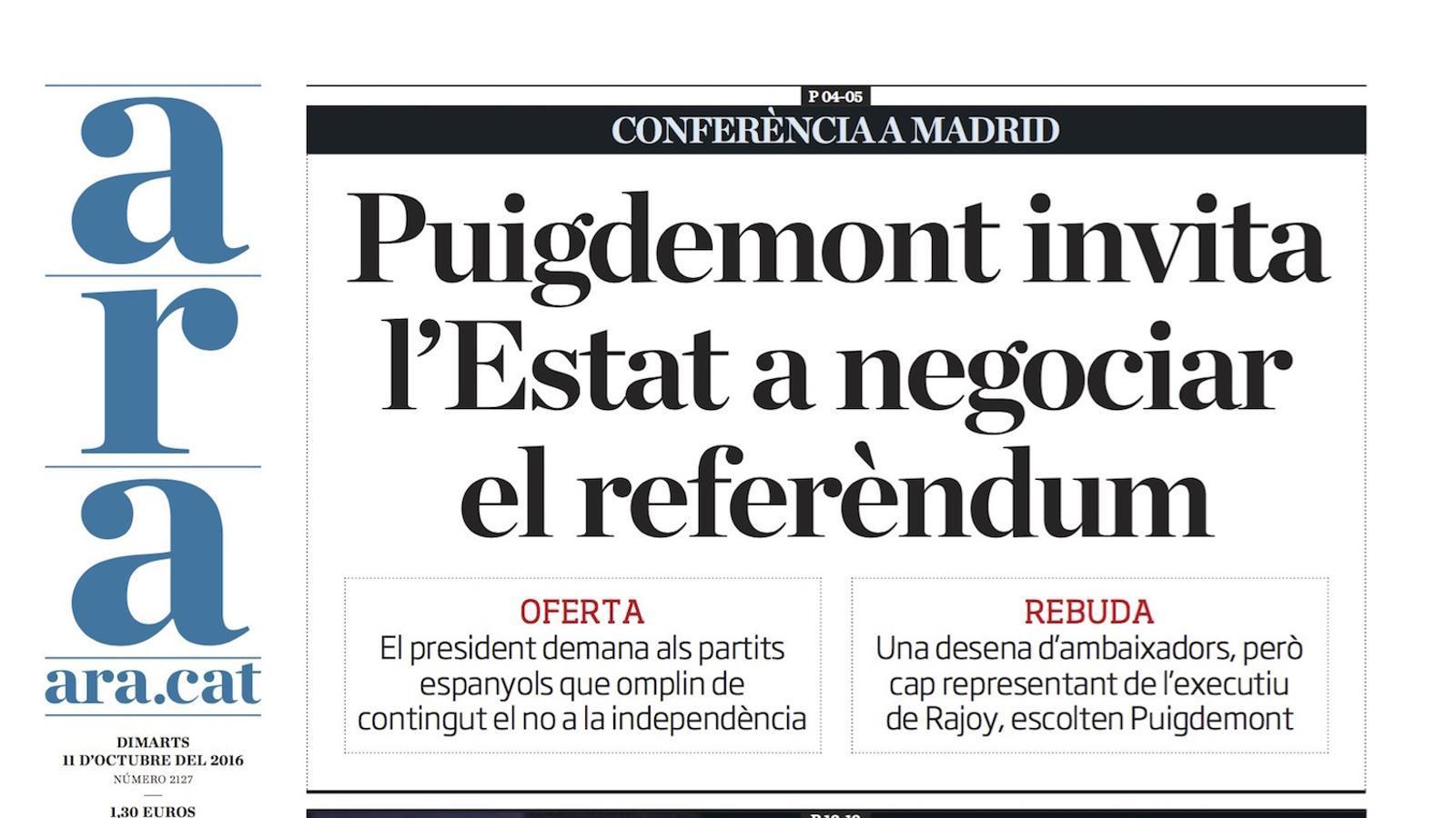 """""""Puigdemont invita l'Estat a negociar el referèndum"""", portada de l'ARA"""