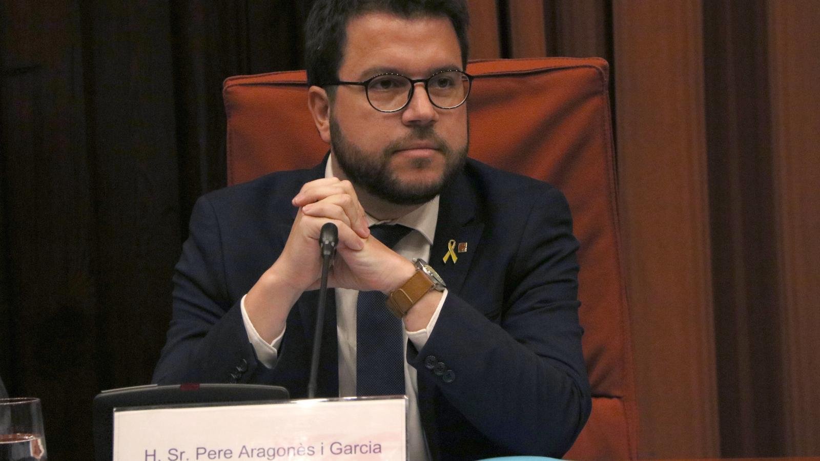 El vicepresident del Govern i conseller d'Economia, Pere Aragonès, durant la compareixença al Parlament