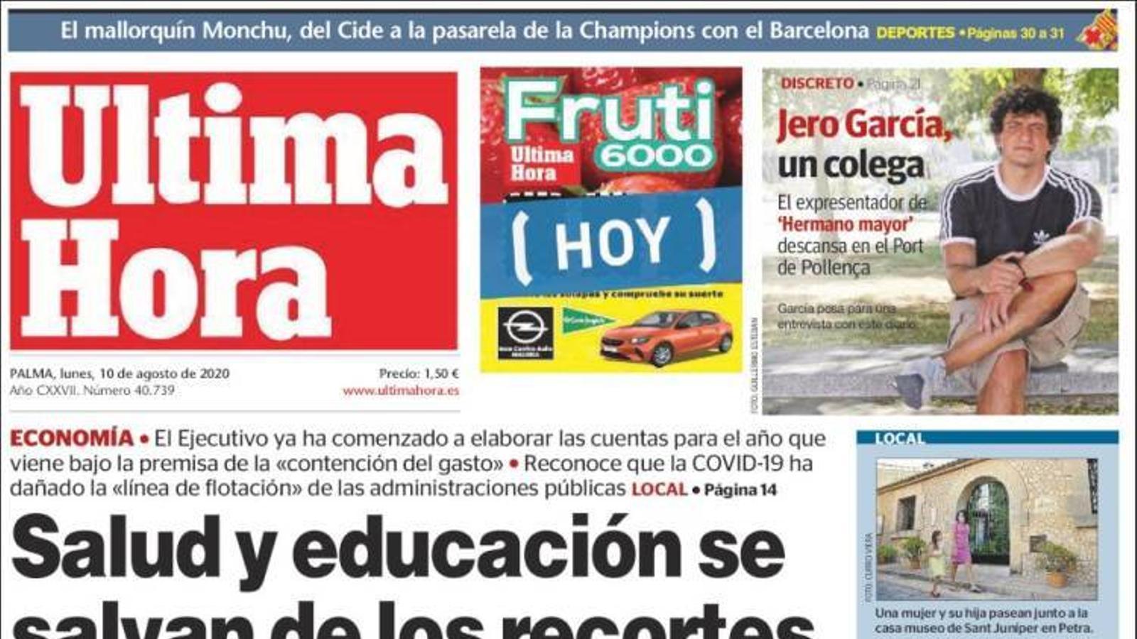 """""""Salut i educació se salven de les retallades del Govern pel 2021"""", portada d''Última Hora'"""