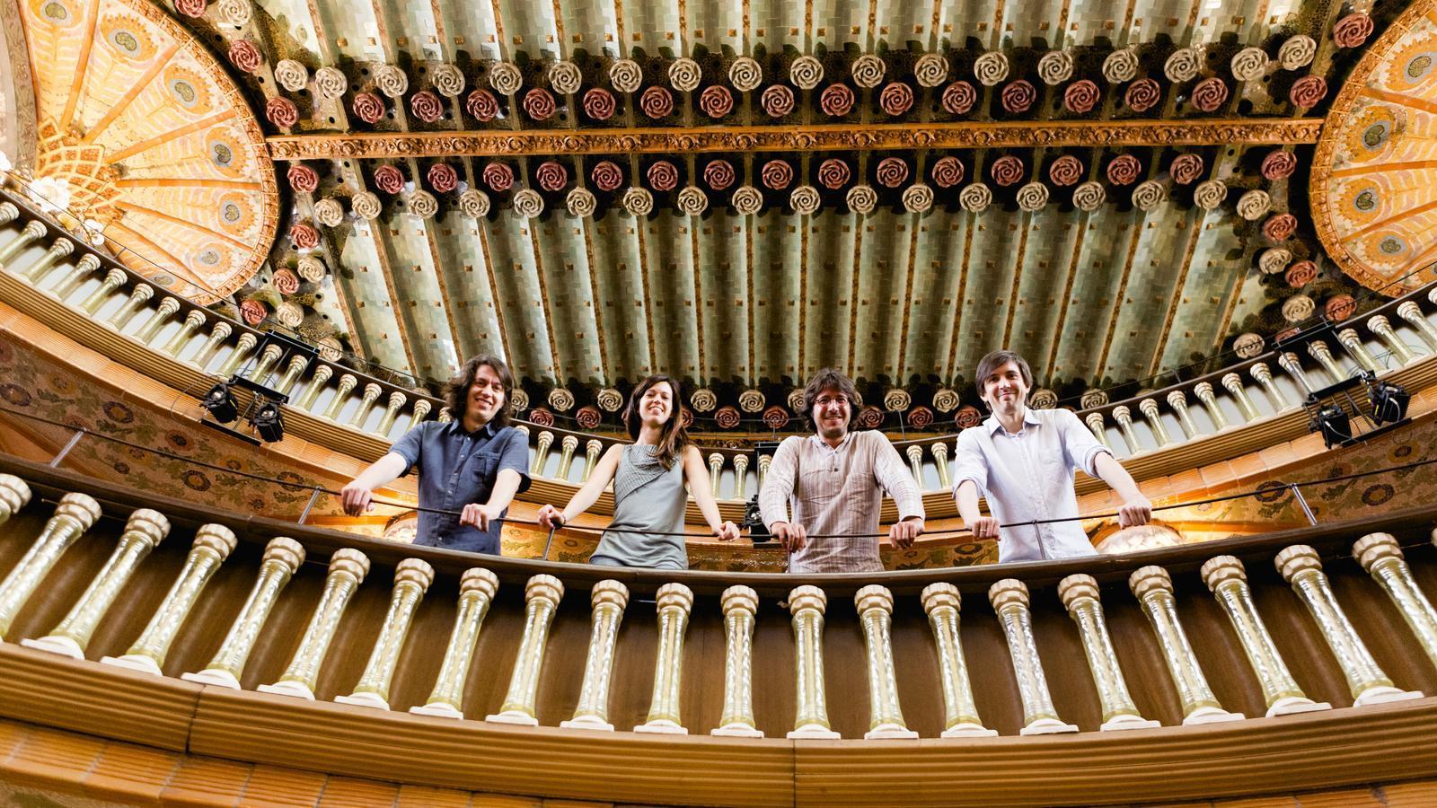Els components del Quartet Gerhard al Palau de la Música: Lluís Castán, Judit Bardolet, Miquel Jordà i Jesús Miralles.