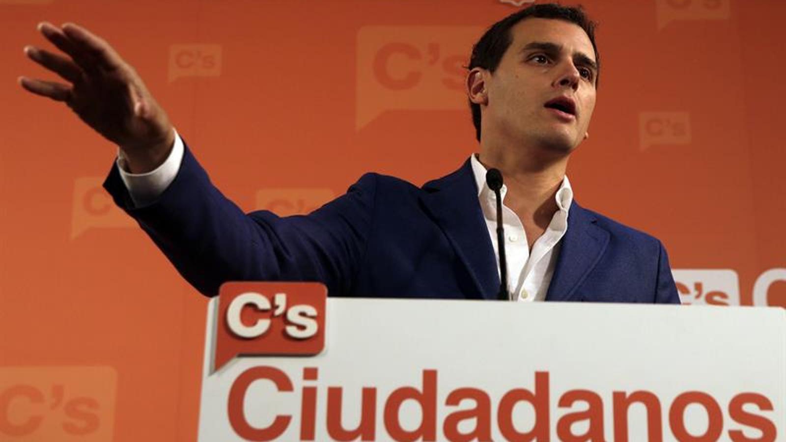 El líder de Ciutadans, Albert Rivera, aquest dimecres a Barcelona. EFE