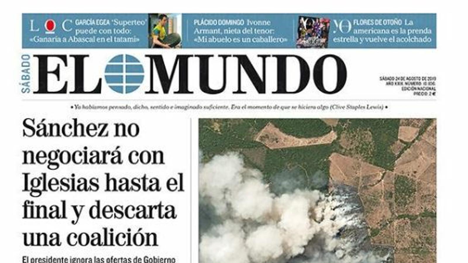 Portada d'El Mundo, 24 d'agost del 2019