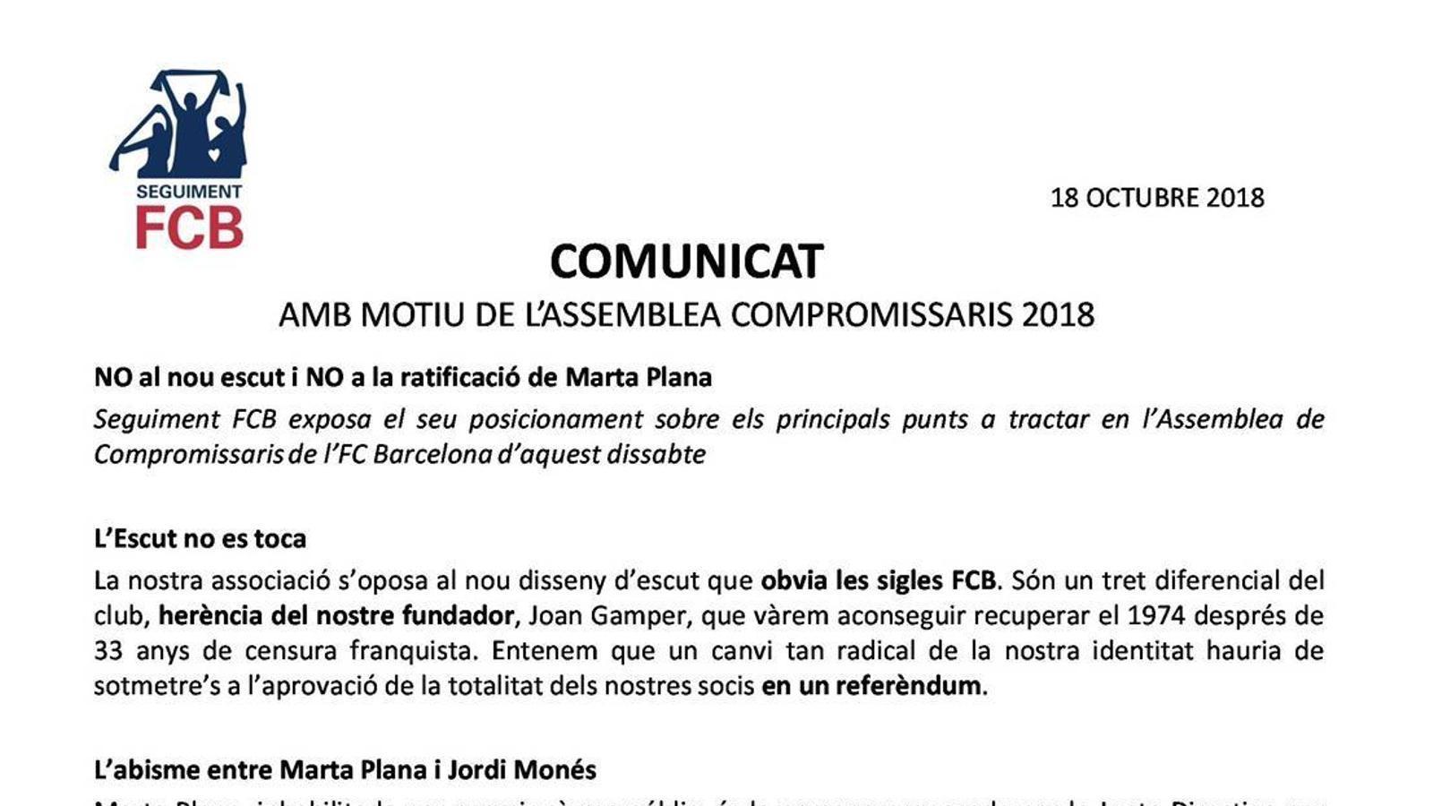 El comunicat de Seguiment FCB en relació al nou escut