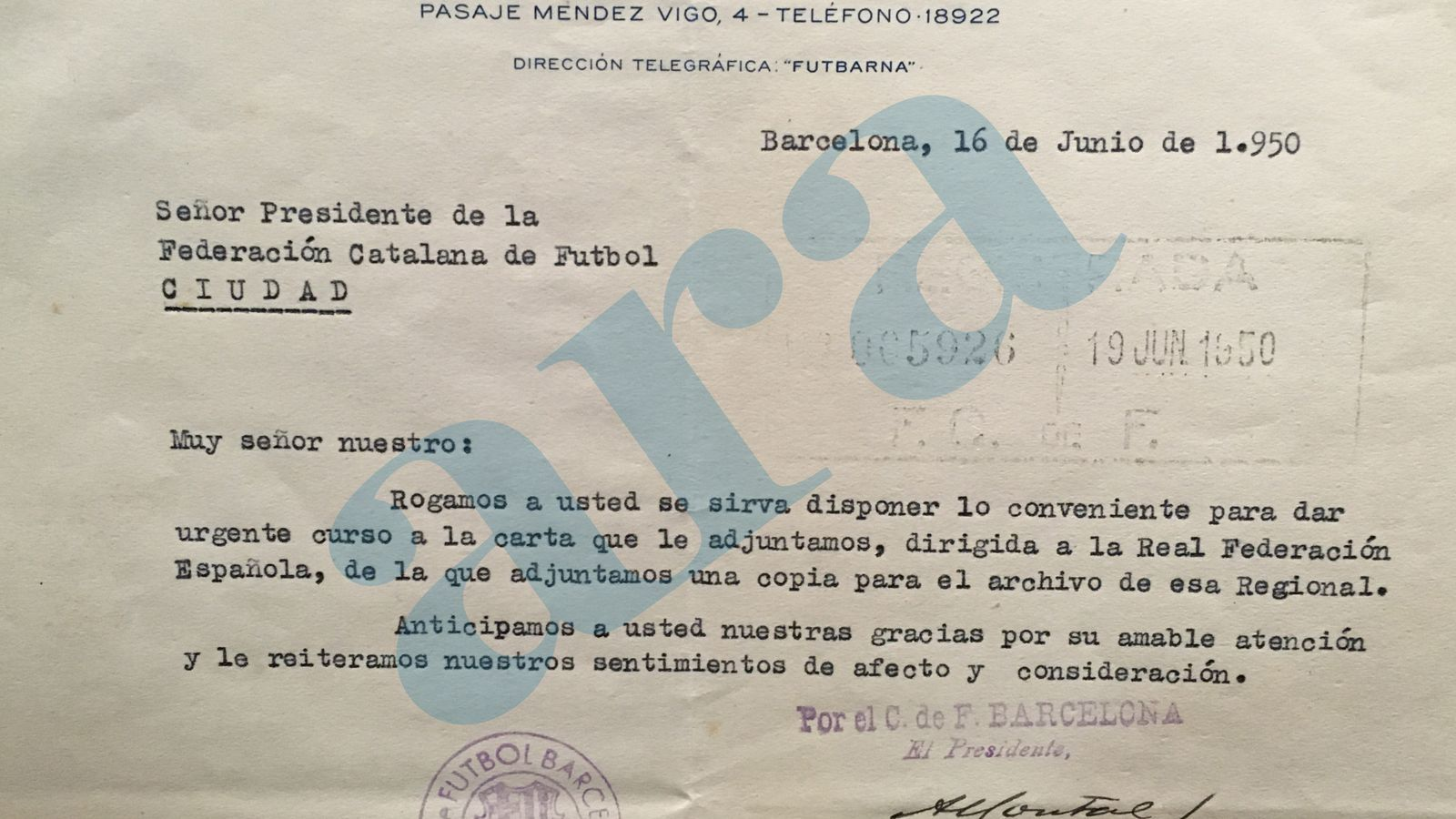El document que acompanya la carta
