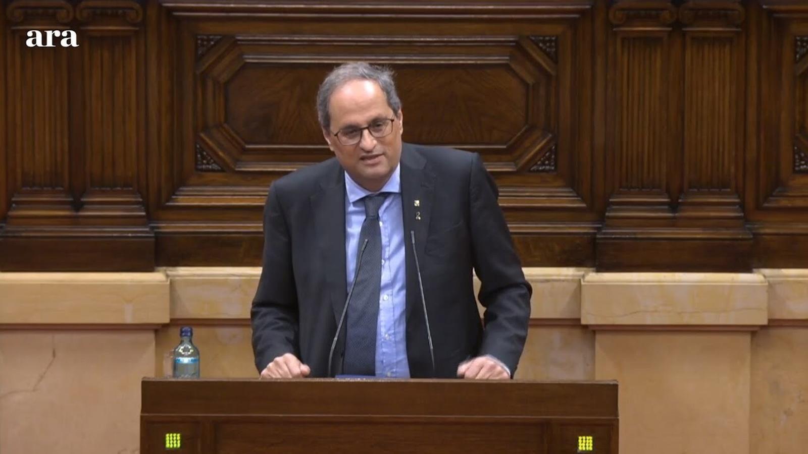 """Torra: """"Mai em trobaran amb les disputes dels partits, el meu únic retret és contra l'estat espanyol"""""""