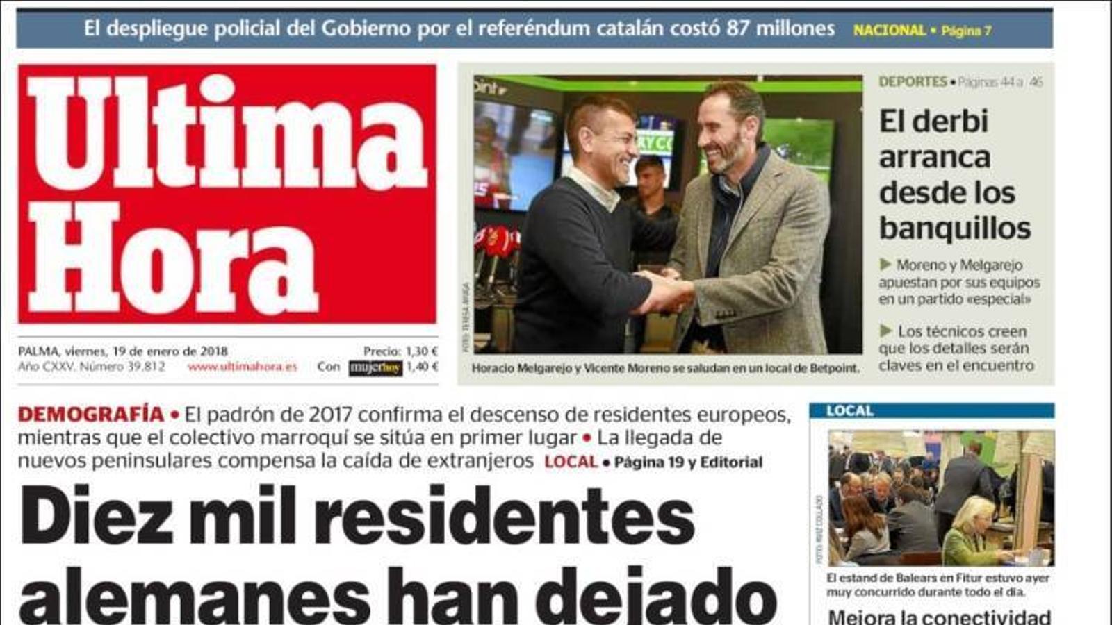 """""""Detecten moviments en els comptes belgues de Puigdemont"""", portada de 'La Razón'"""