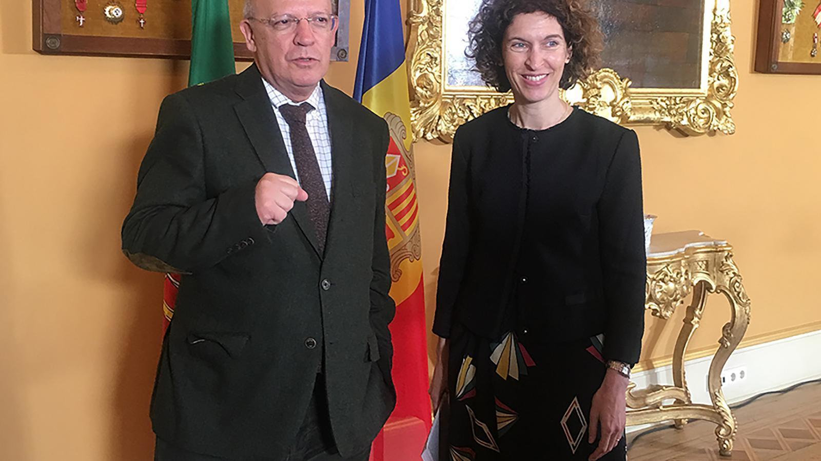 Els ministres d'Afers Exteriors de Portugal, Augusto Santos Silva, i d'Andorra, Maria Ubach. / SFG