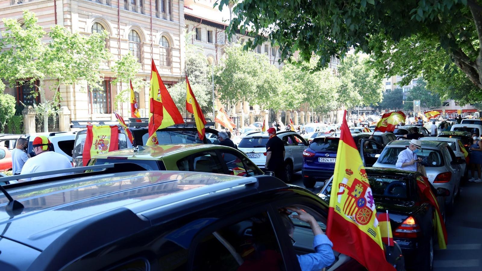 Un moment de la manifestació convocada per Vox aquest dissabte en els carrers del centre de Palma