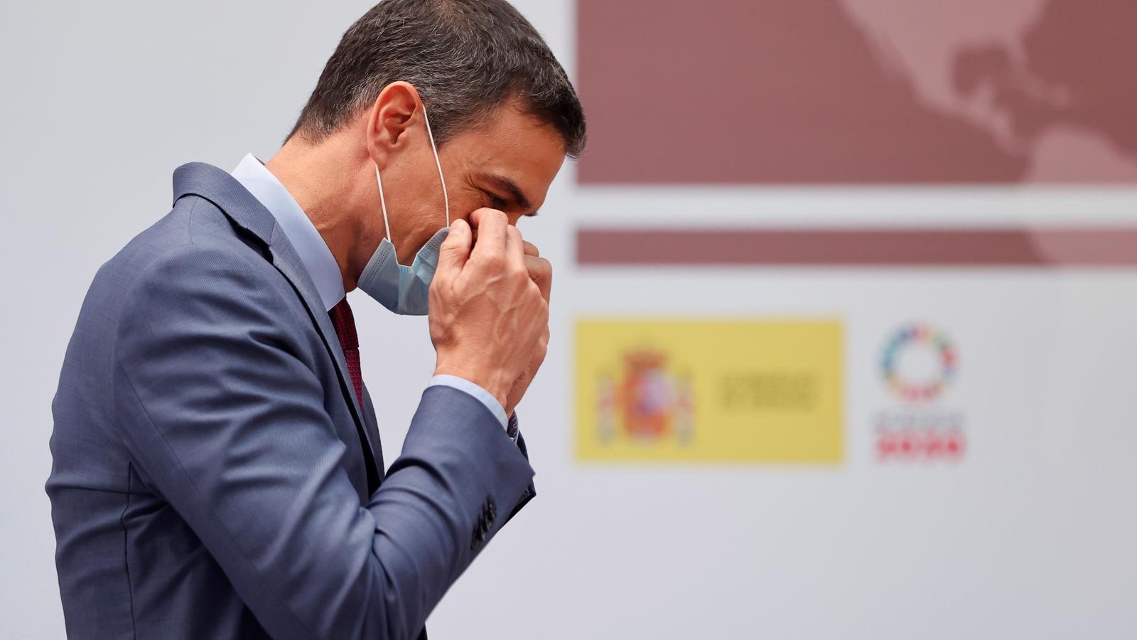 El president del govern espanyol, Pedro Sánchez, durant un acte a la Moncloa.