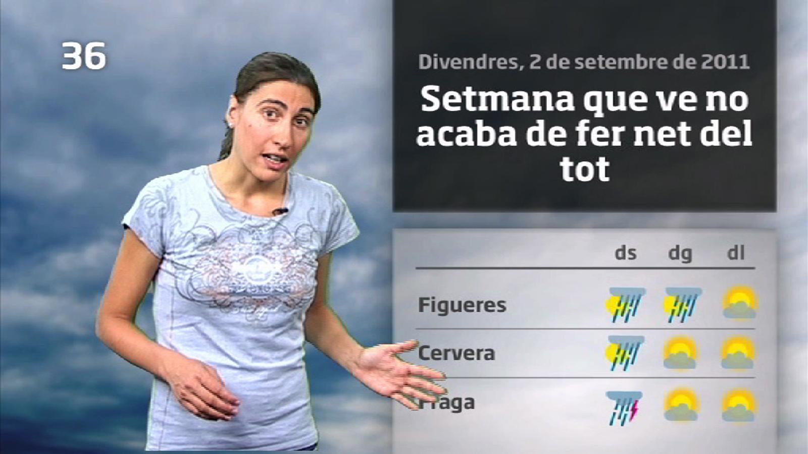 La Méteo en 1 minut: dissabte de ruixats i tempestes fortes (02/09/2011)