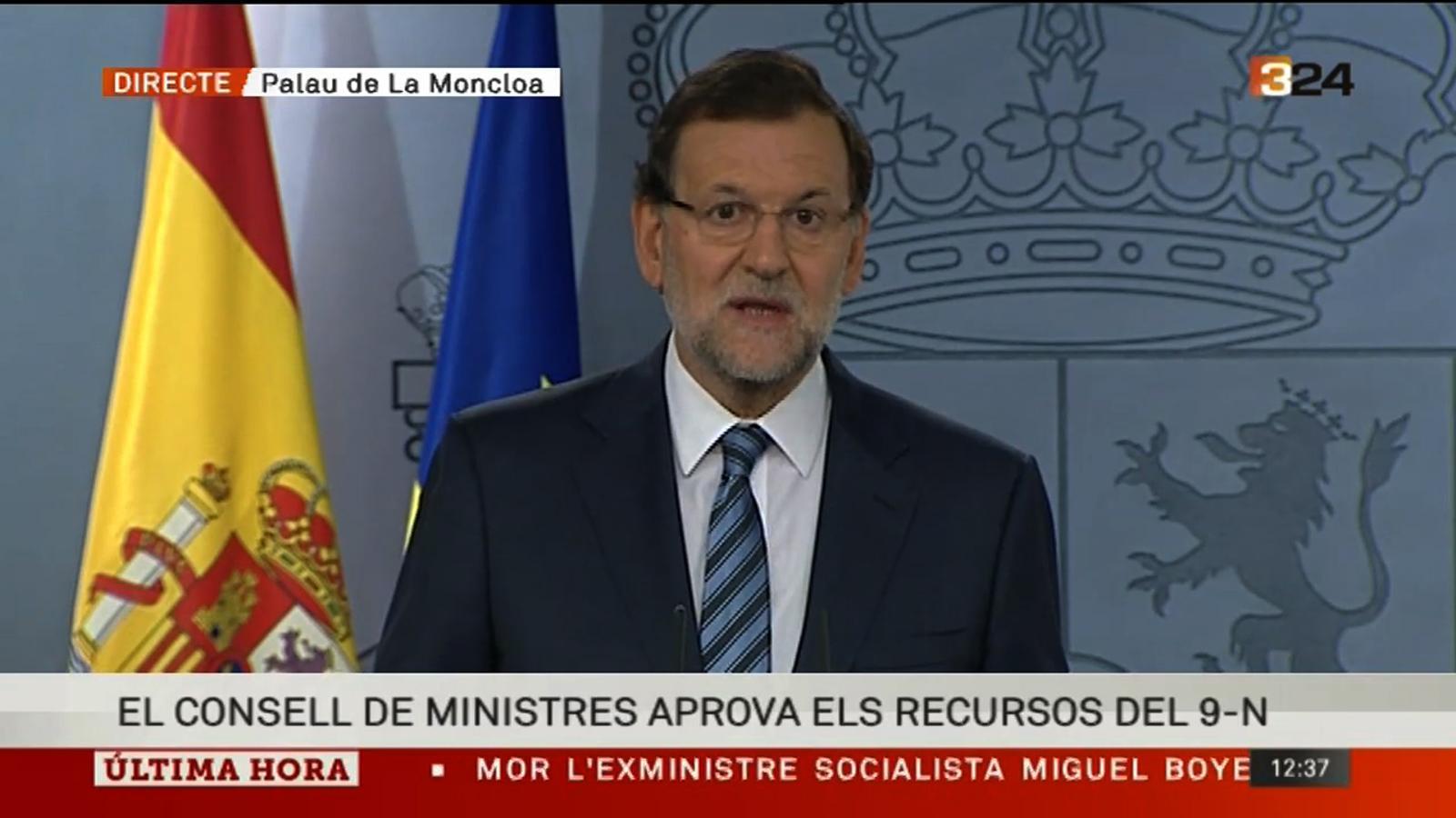Rajoy diu que el 9-N és inconstitucional perquè atempta greument contra els drets de tots els espanyols