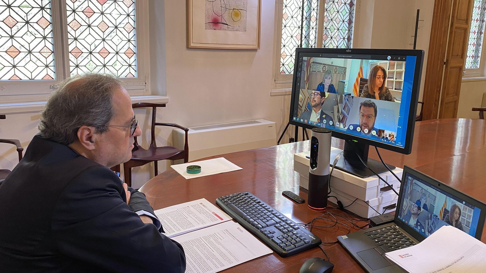 Quim Torra ha presidit la reunió per videoconferència del Consell Executiu.