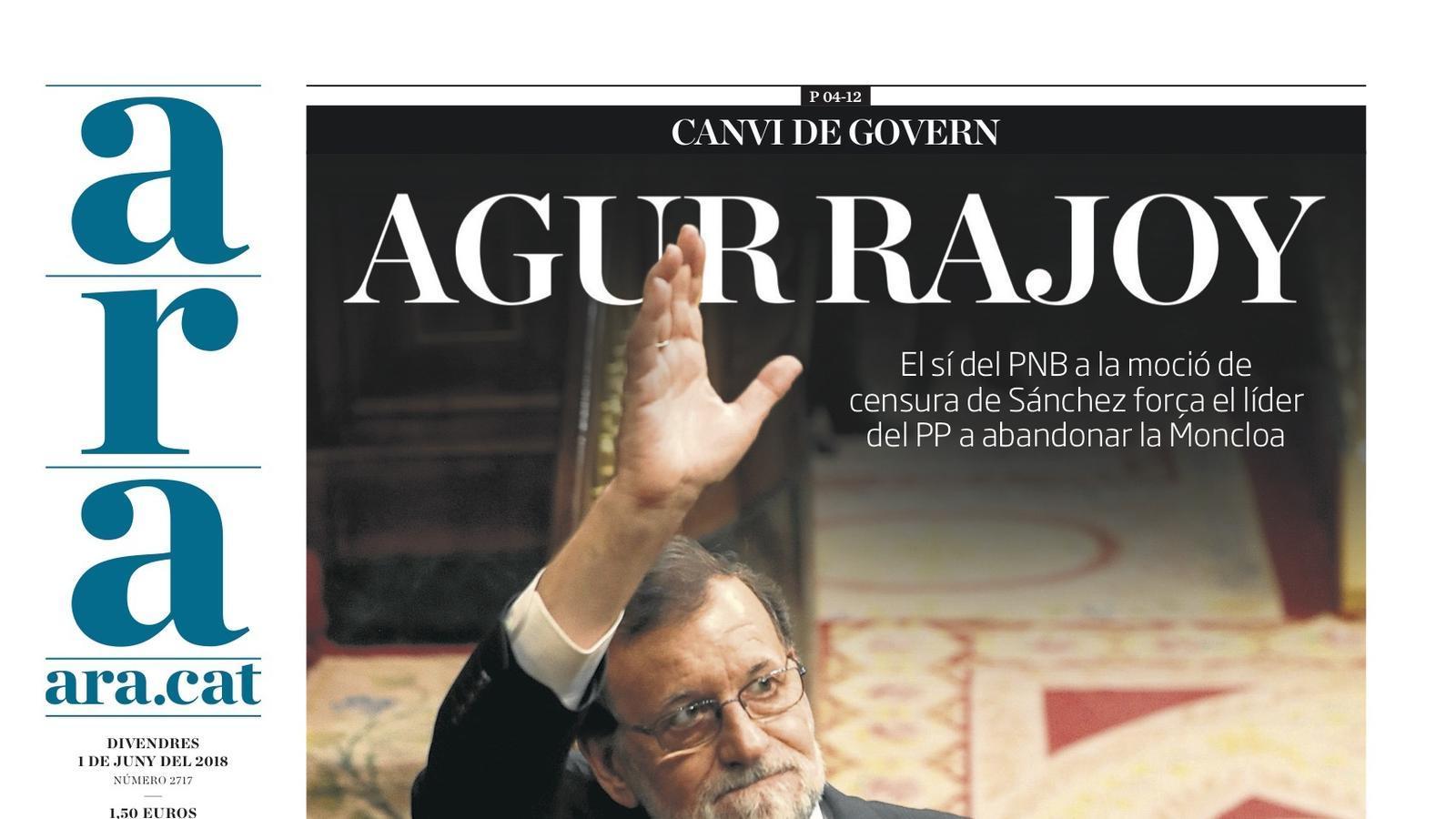 """""""Agur Rajoy"""", portada de l'ARA"""