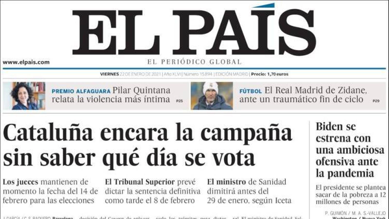 Portada 22 gener 2021 El País