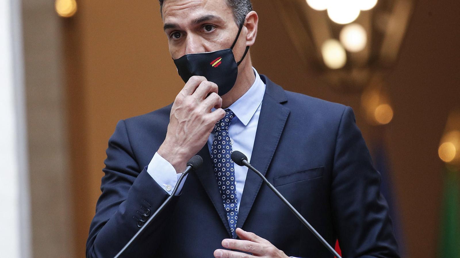 El president espanyol, Pedro Sánchez, ahir en roda de premsa a Roma.