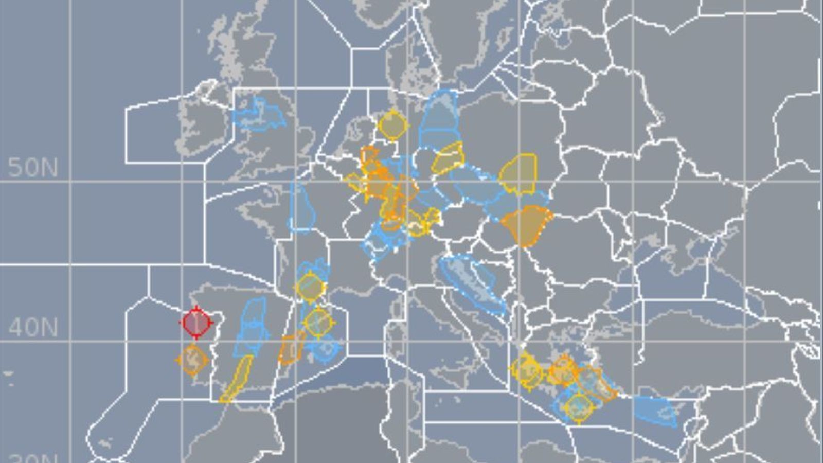 Distints sectors aeris en què està dividit Europa