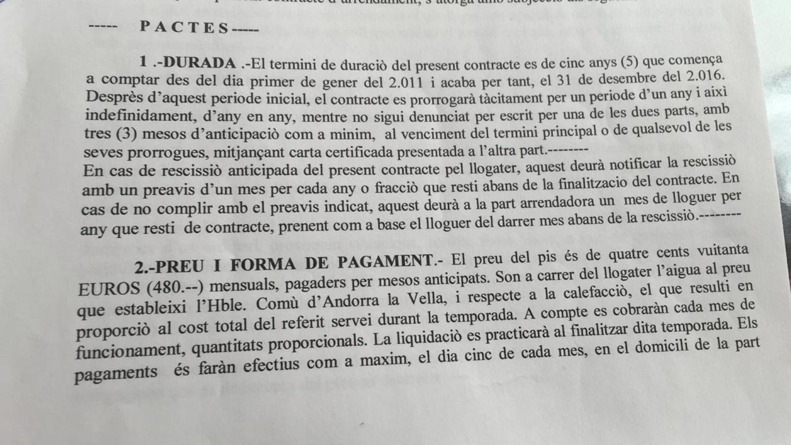 Contracte d'un dels llogaters abans de la pujada del preu del lloguer. / ARA ANDORRA