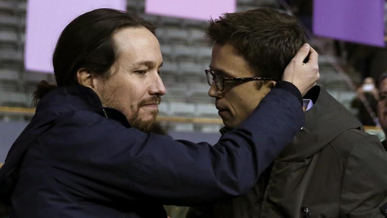 Pablo Iglesias i Íñigo Errejón durant el primer dia del congrés de Podem. EFE