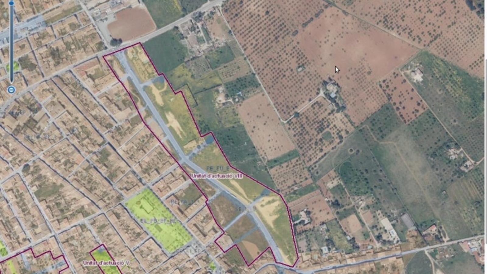 El mapa de Santa Maria amb les zones d'actuació afectades