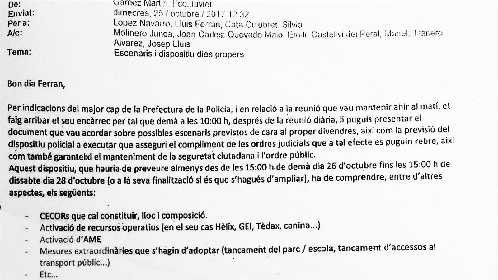 Imagen del correo enviado a Ferran López el 25 de octubre sobre el plan para detener a Puigdemont
