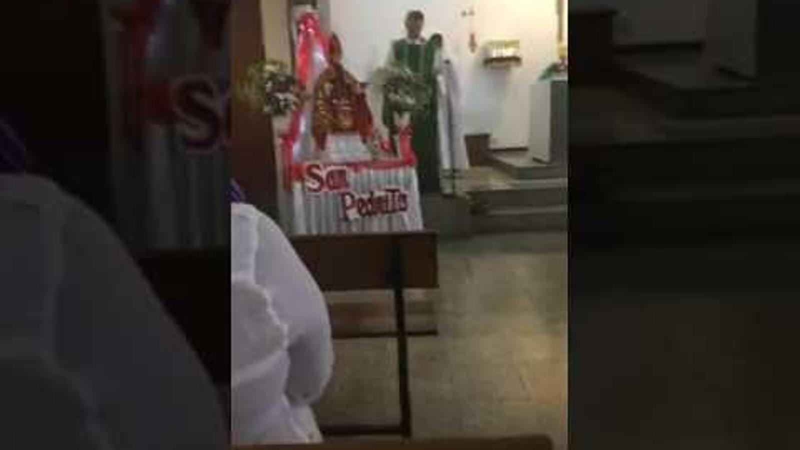 Discurs del capellà Custodio Ballester a la parròquia Inmaculada Concepción de L'Hospitalet, enregistrat per un dels assistents