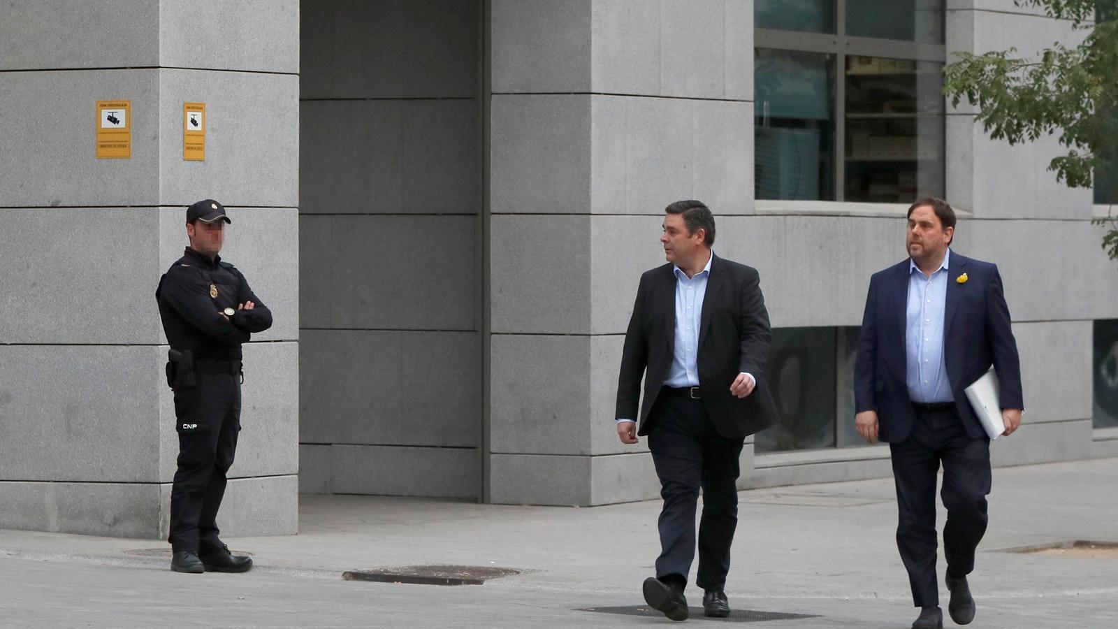 Oriol Junqueras arriba a l'Audiència Nacional per declarar