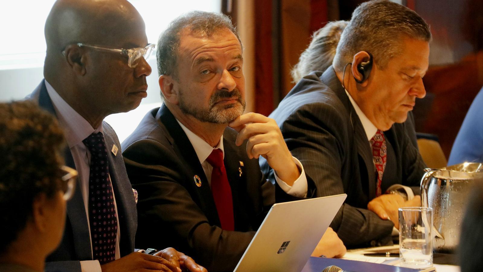 El conseller d'Acció Exterior, Alfred Bosch, durant la taula rodona de líders locals i regionals al 'Local and Regional Governments' Day' de Nova York