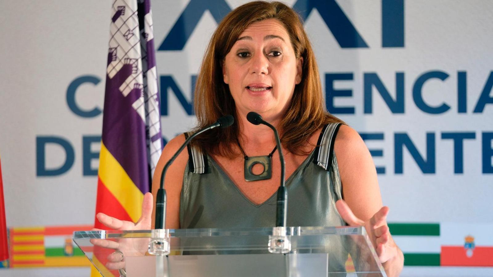 La presidenta del Govern, Francina Armengol, en la roda de premsa posterior a la reunió amb els presidents autonòmics