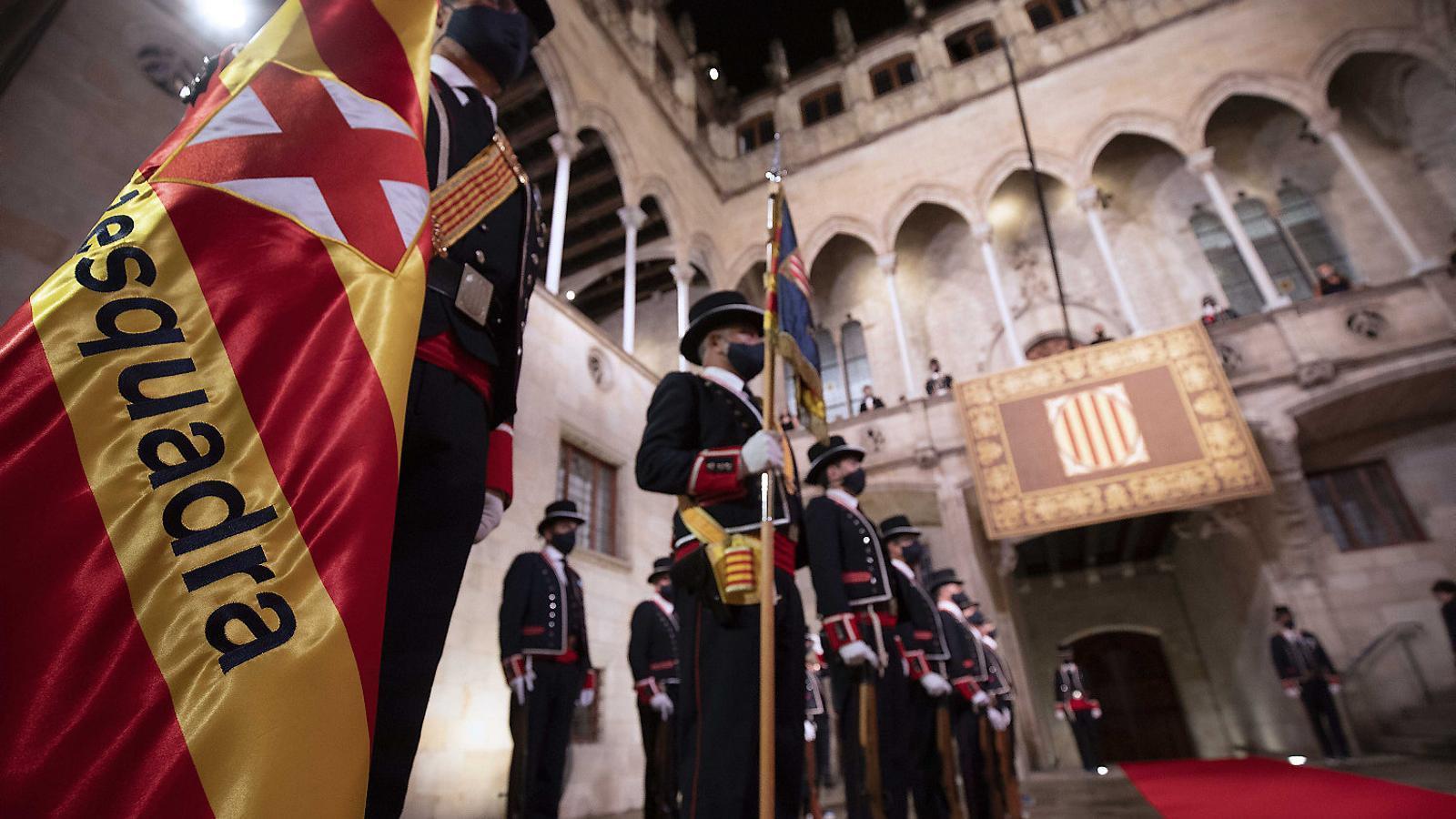 Imatge de l'acte institucional que es va fer ahir al Palau de la Generalitat.