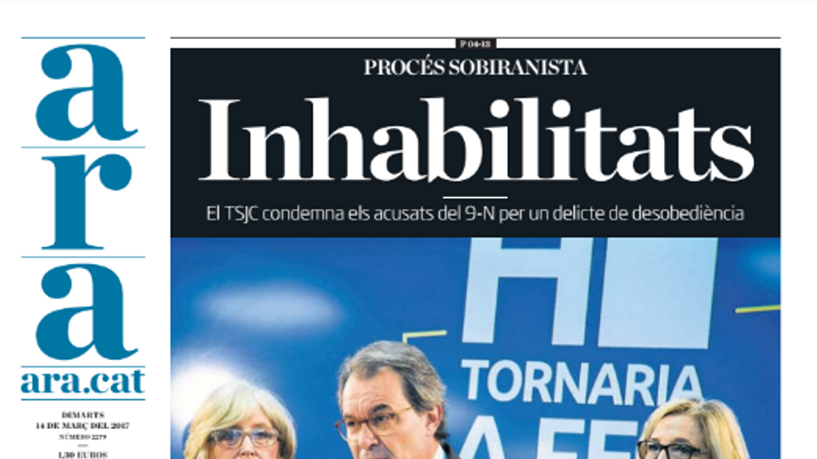 """""""Inhabilitats"""", portada de l'ARA d'aquest dimarts"""