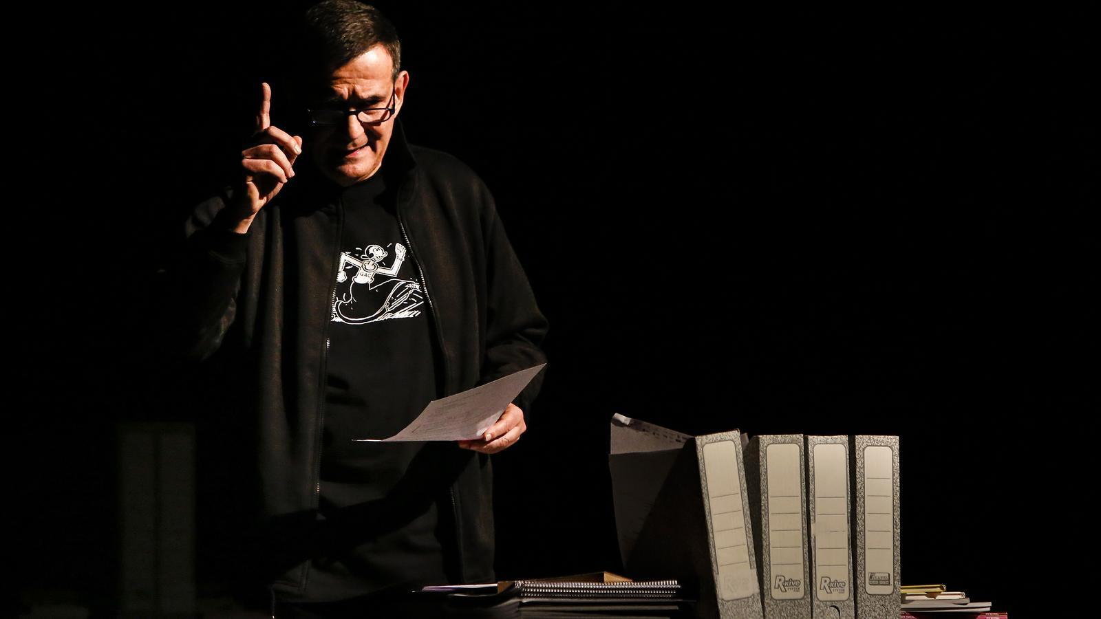 Eduard Márquez, durant la conferència d'ahir al Teatre Romea