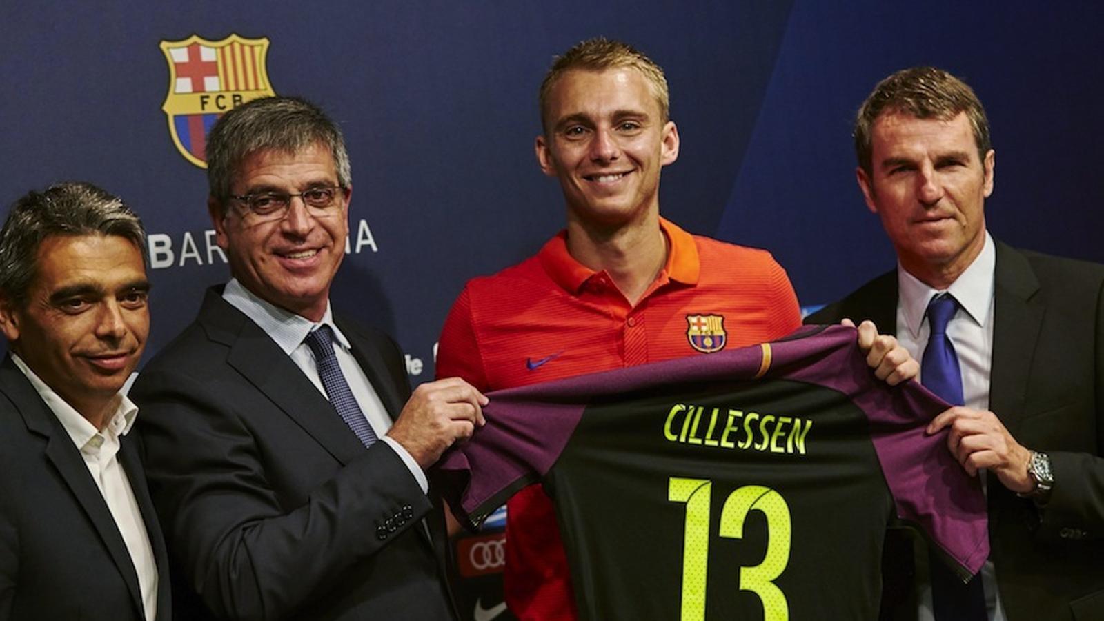 Cillessen, durant la seva presentació al Camp Nou