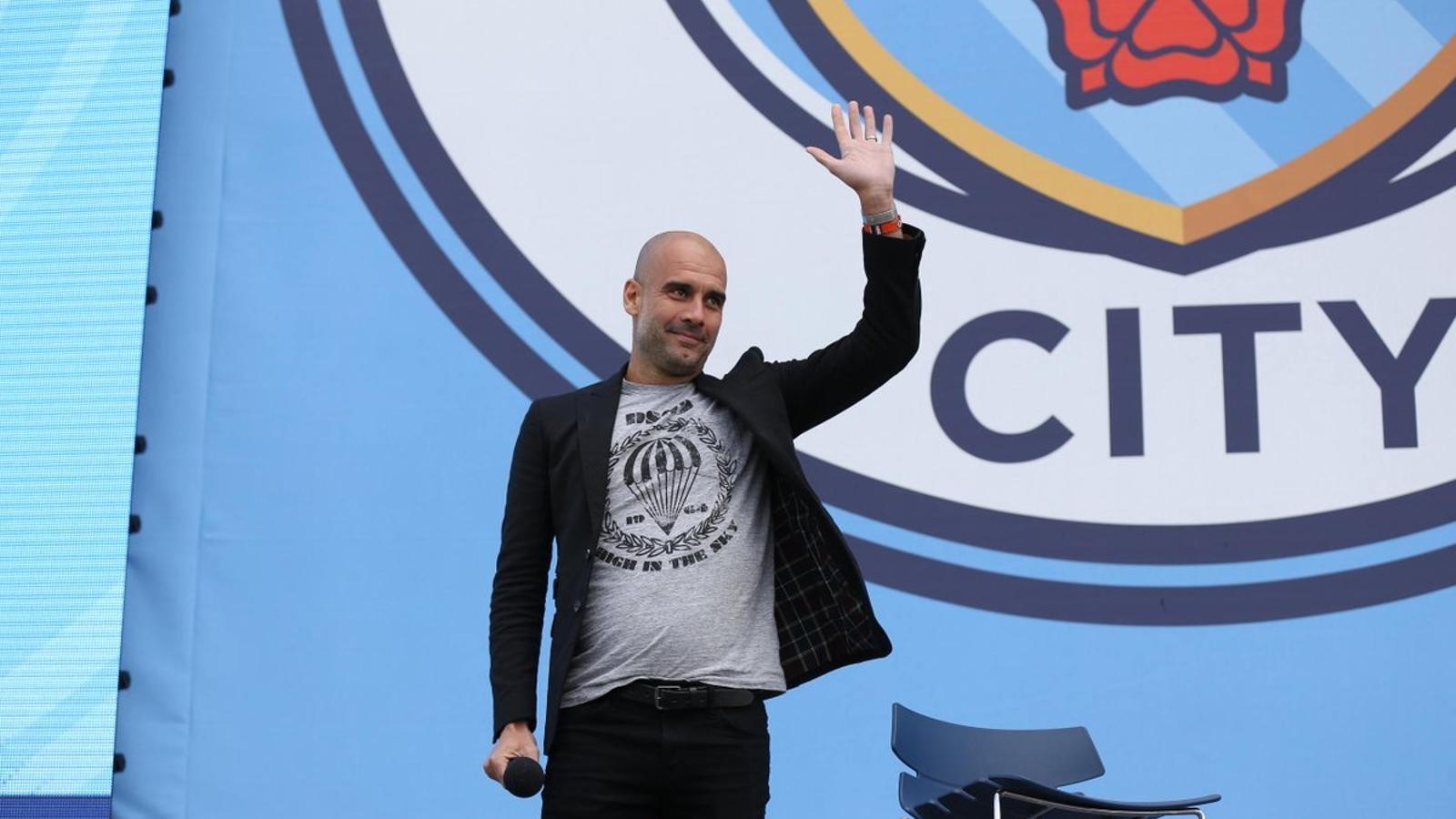 Guardiola, durant la seva presentació amb el Manchester City
