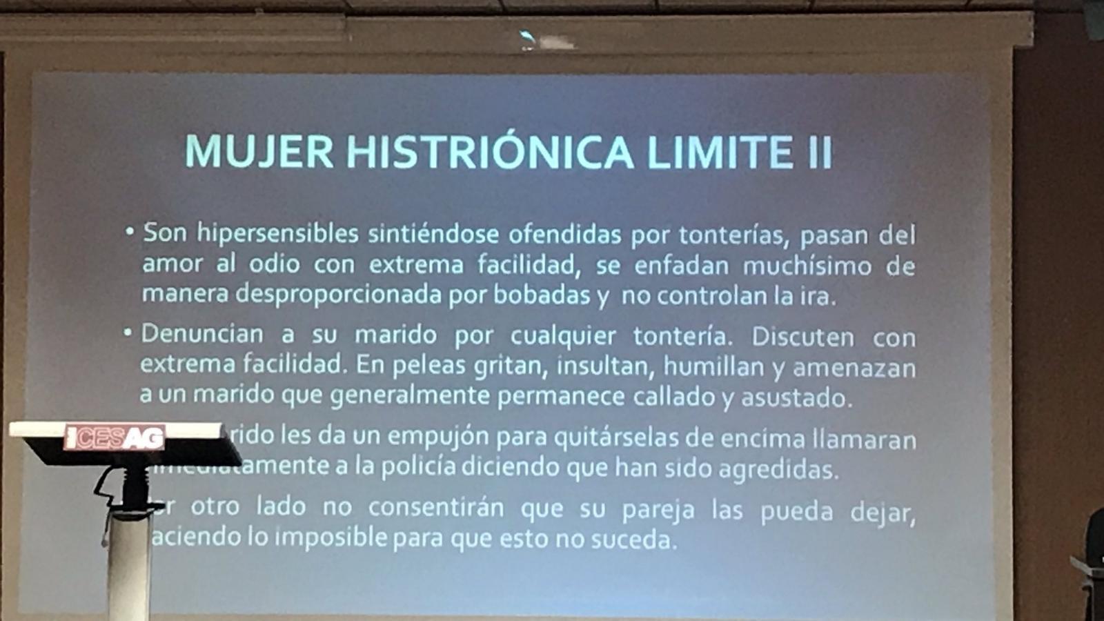 Una de les diapositives de la presentació del psiquiatre Tomás Blanes feta al CESAG