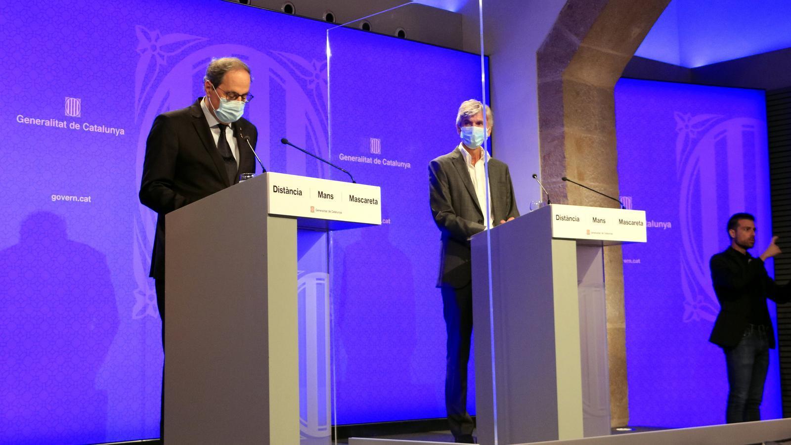 El president de la Generalitat, Quim Torra, i el secretari de Salut Pública, Josep Maria Argimon, en roda de premsa aquest dilluns, 27 de juliol del 2020