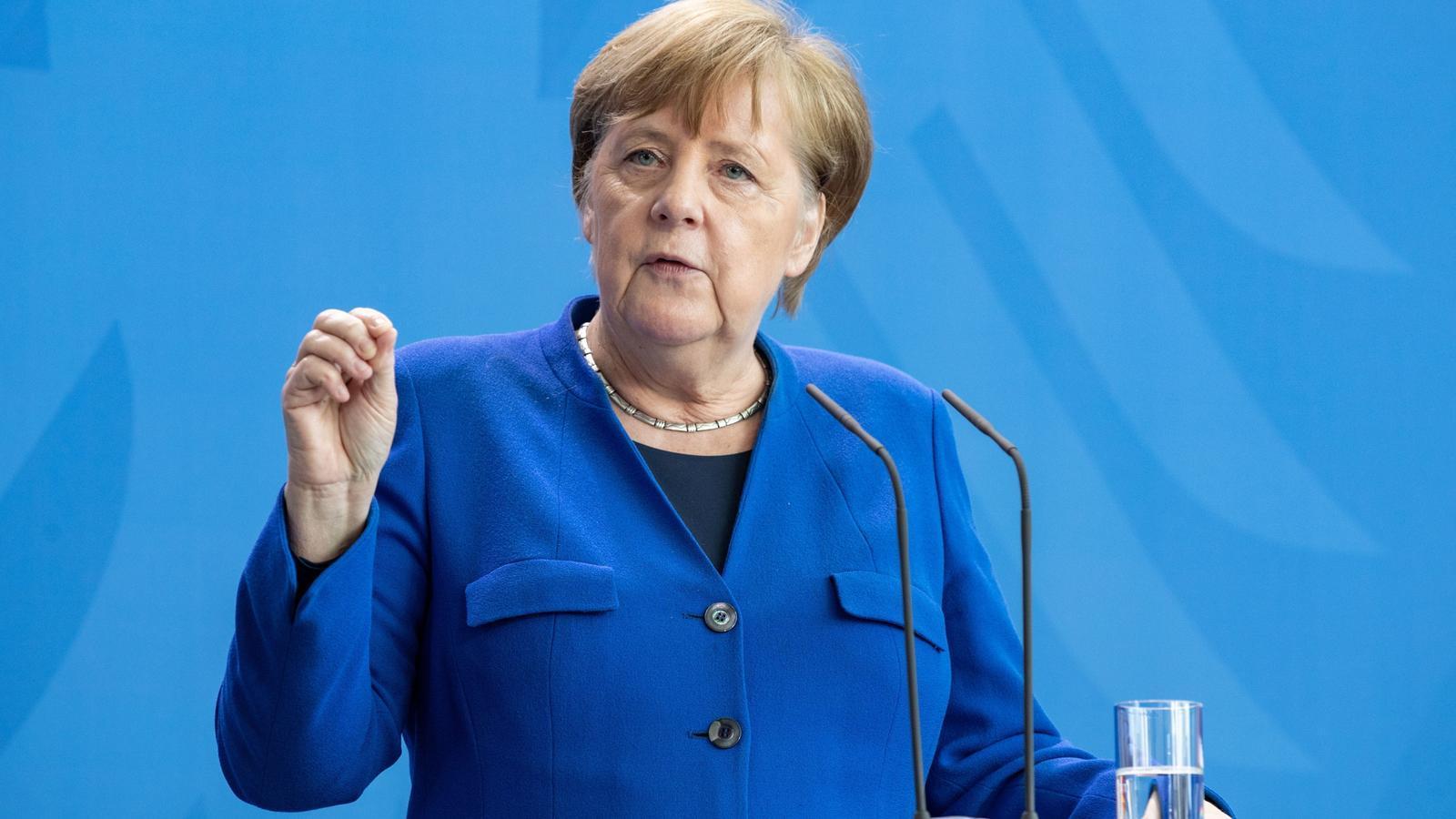 Angela Merkel durant la roda de premsa d'avui sobre la crisi del coronavirus