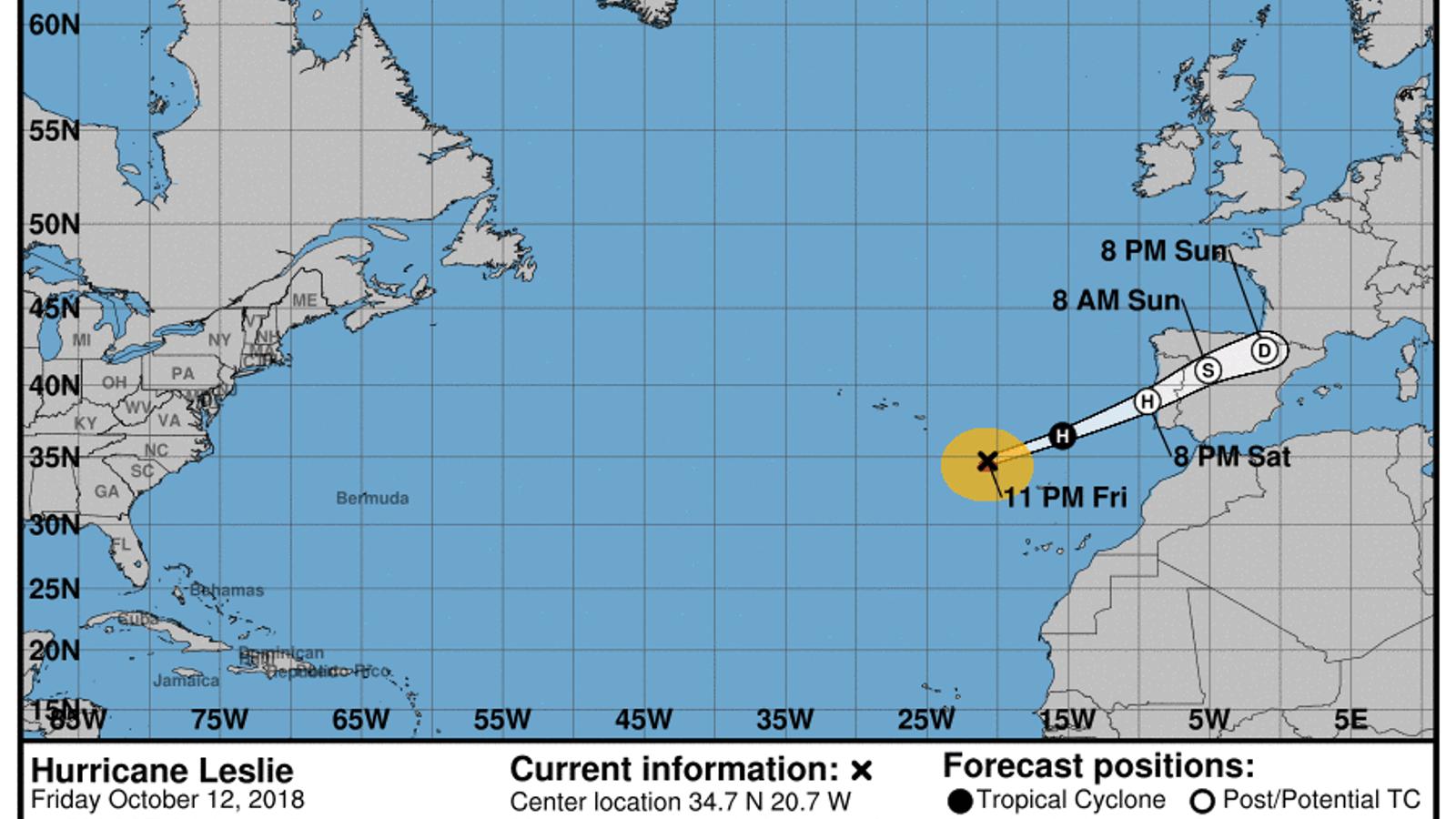 Predicció de la trajectòria del 'Leslie'