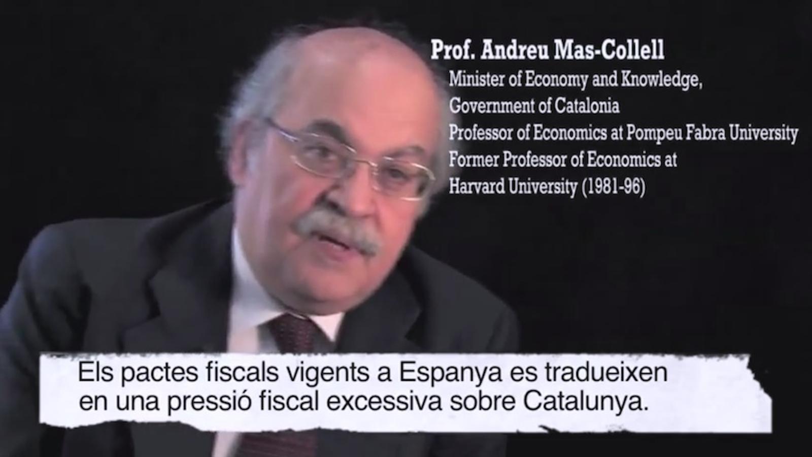 Vídeo de presentació de l''app' Stop Espoli: missatge al món, en anglès, de Mas-Colell i acadèmics catalans