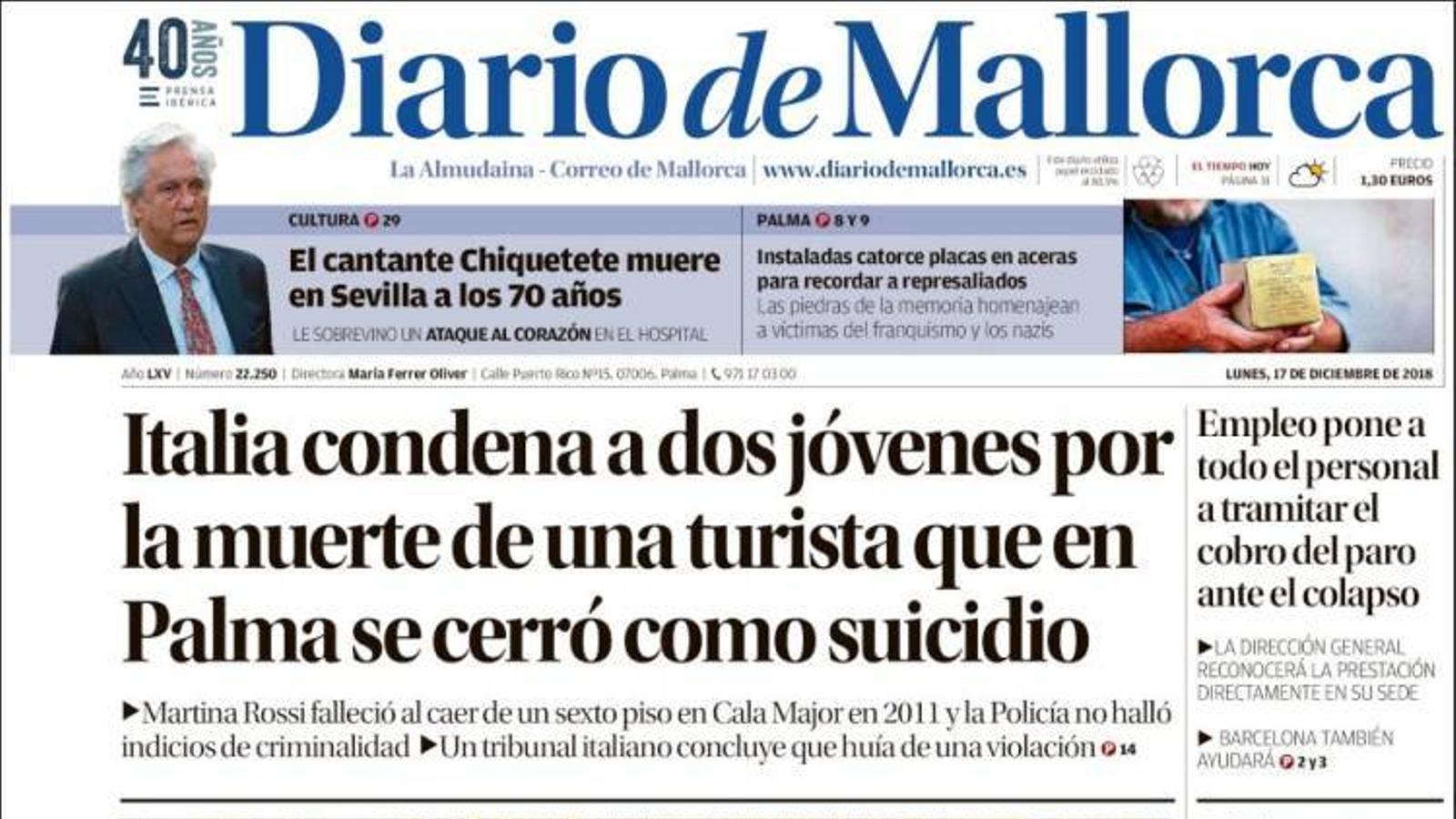 """"""" Itàlia condemna a dos joves per la mort d'una turista que a Palma es va tancar com a suïcidi"""", a la portada de 'Diario de Mallorca'"""